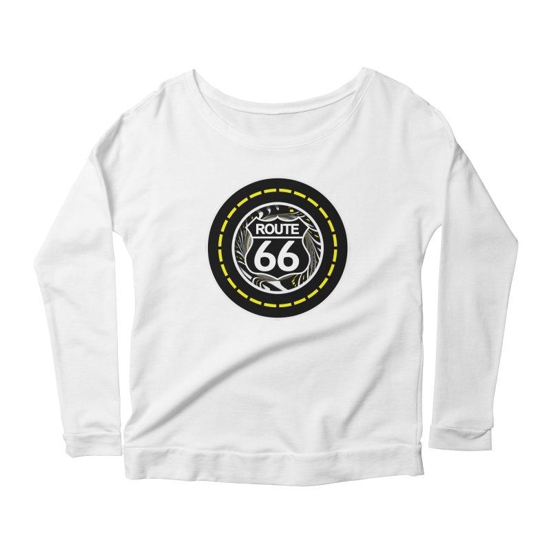An Infinite Fractal Road on the Legendary Route 66 Women's Scoop Neck Longsleeve T-Shirt by The Fractal Art of San Jaya Prime