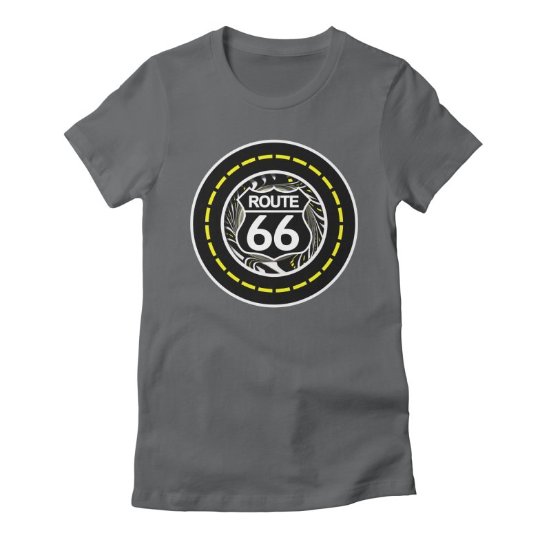 An Infinite Fractal Road on the Legendary Route 66 Women's Fitted T-Shirt by The Fractal Art of San Jaya Prime