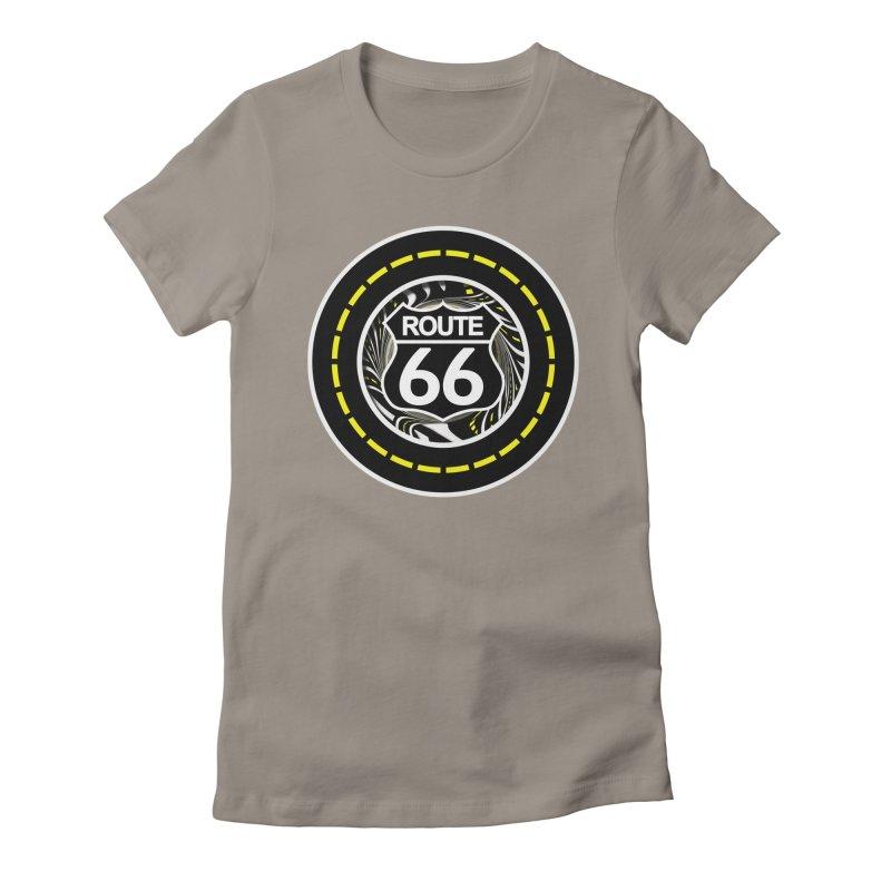 An Infinite Fractal Road on the Legendary Route 66 Women's T-Shirt by The Fractal Art of San Jaya Prime