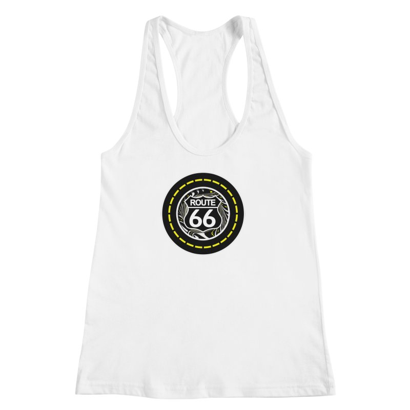 An Infinite Fractal Road on the Legendary Route 66 Women's Racerback Tank by The Fractal Art of San Jaya Prime