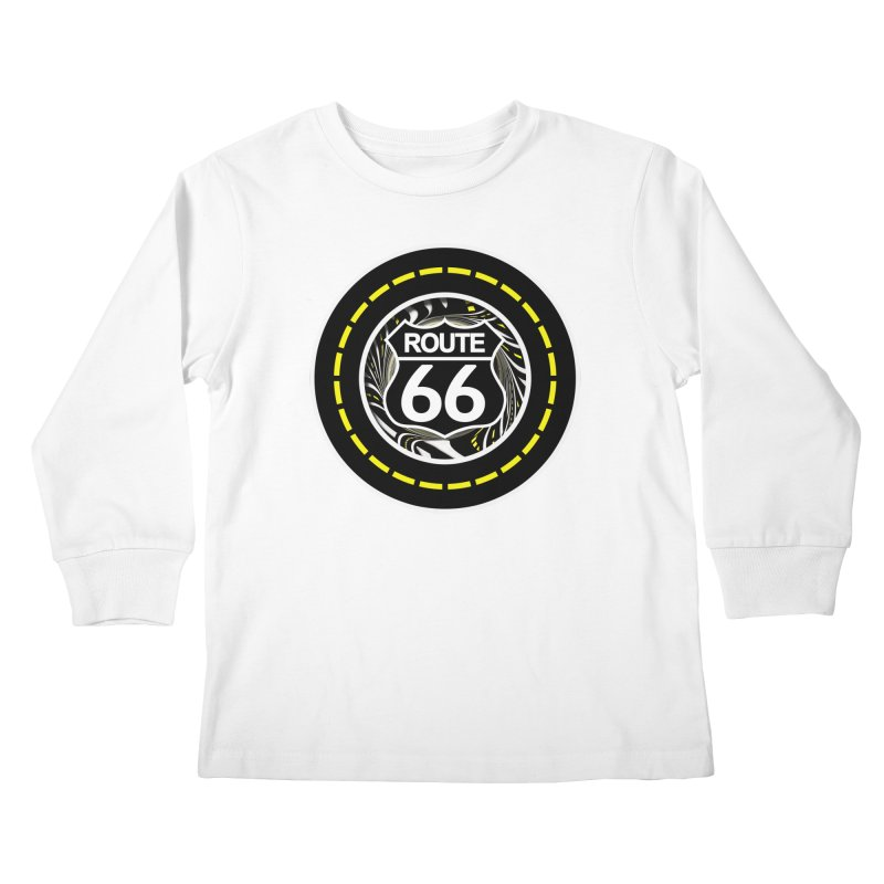 An Infinite Fractal Road on the Legendary Route 66 Kids Longsleeve T-Shirt by The Fractal Art of San Jaya Prime
