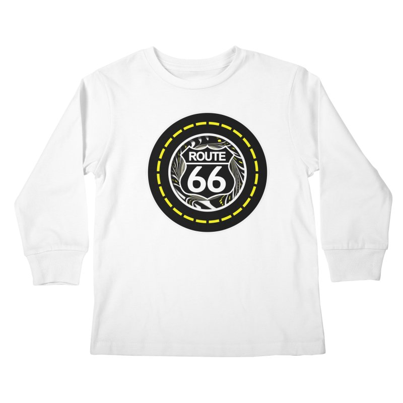 An Infinite Fractal Road on the Legendary Route 66 Kids Longsleeve T-Shirt by The Fractal Art of San Jaya Prime