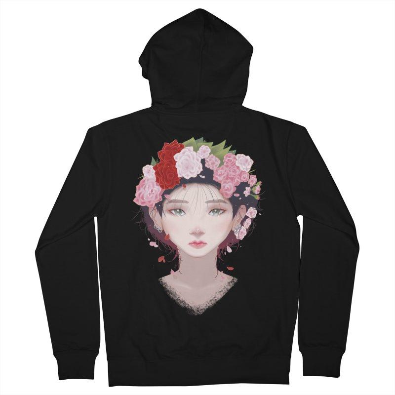 Pink Roses Men's Zip-Up Hoody by Fran Shop