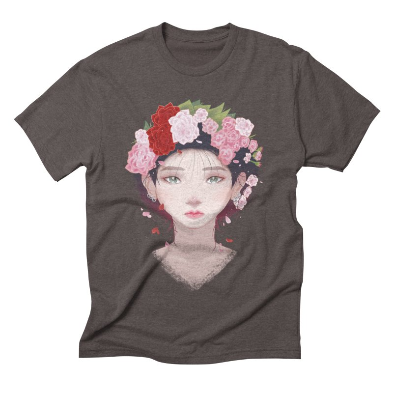 Pink Roses Men's Triblend T-shirt by Fran Shop