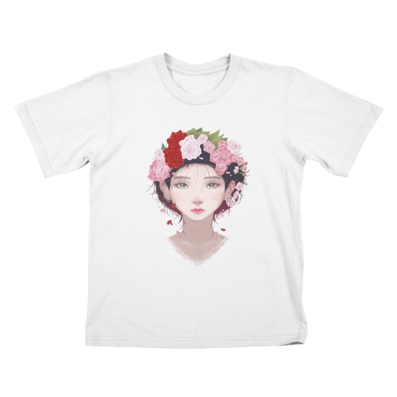 Pink Roses Kids T-shirt by Fran Shop