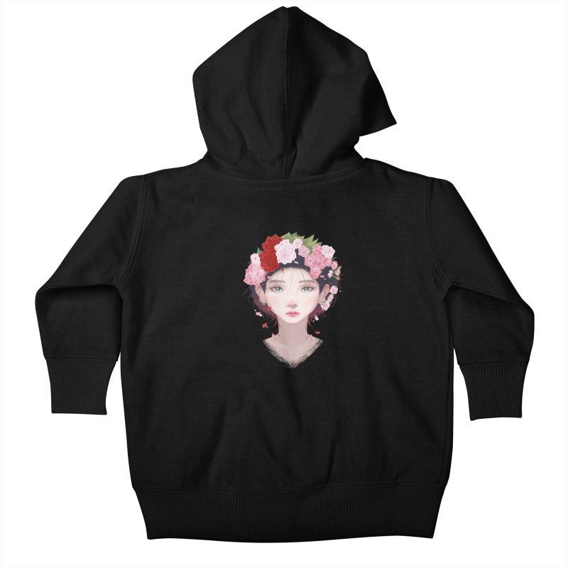 Pink Roses Kids Baby Zip-Up Hoody by Fran Shop