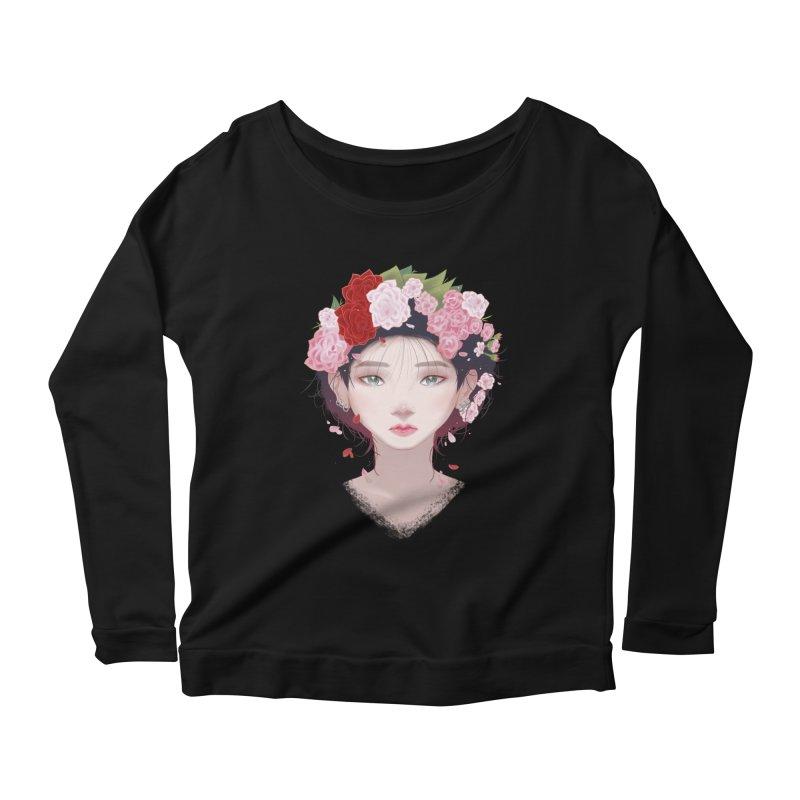 Pink Roses Women's Longsleeve Scoopneck  by Fran Shop