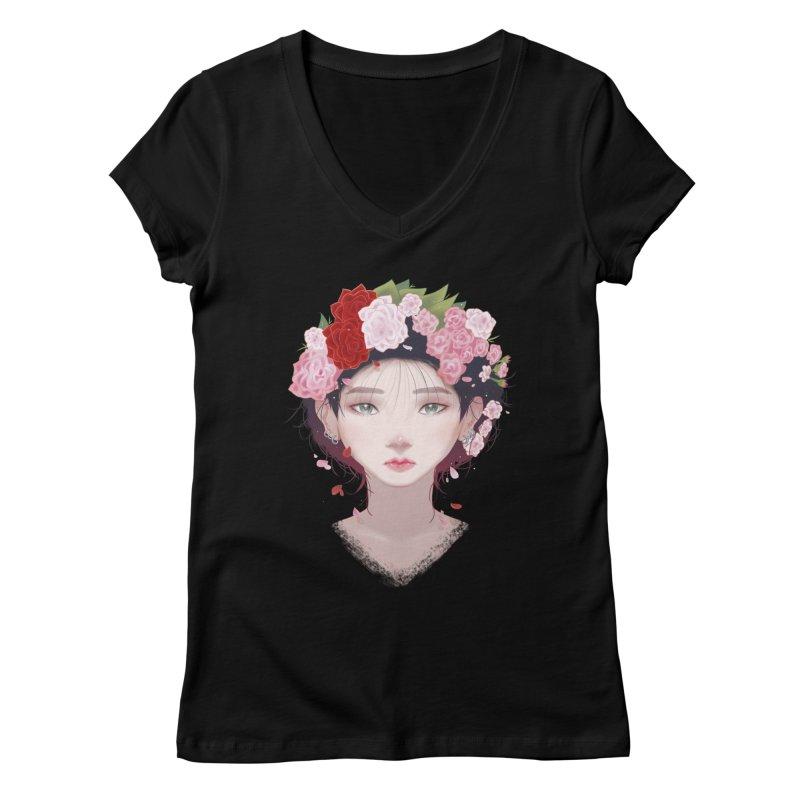 Pink Roses Women's V-Neck by Fran Shop