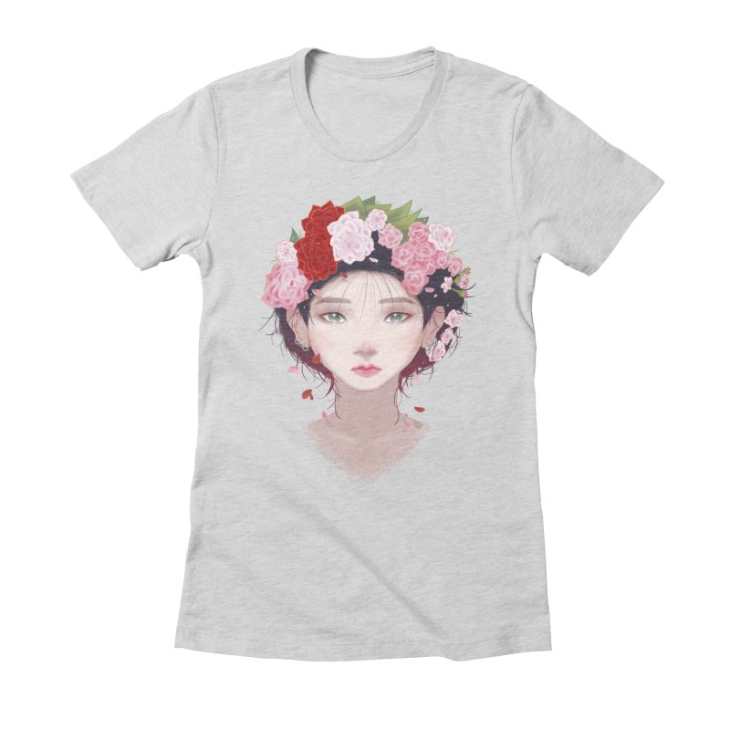 Pink Roses Women's Fitted T-Shirt by Fran Shop