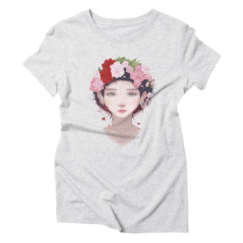 Pink Roses Women's Triblend T-Shirt by Fran Shop