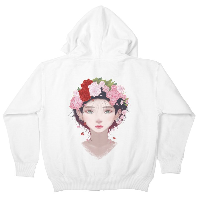 Pink Roses Kids Zip-Up Hoody by Fran Shop
