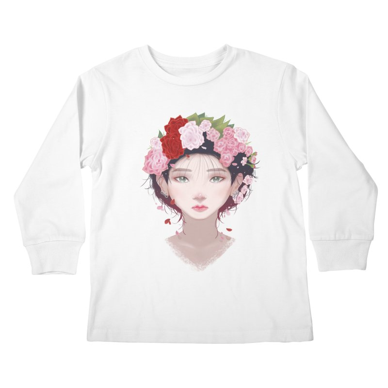 Pink Roses Kids Longsleeve T-Shirt by Fran Shop