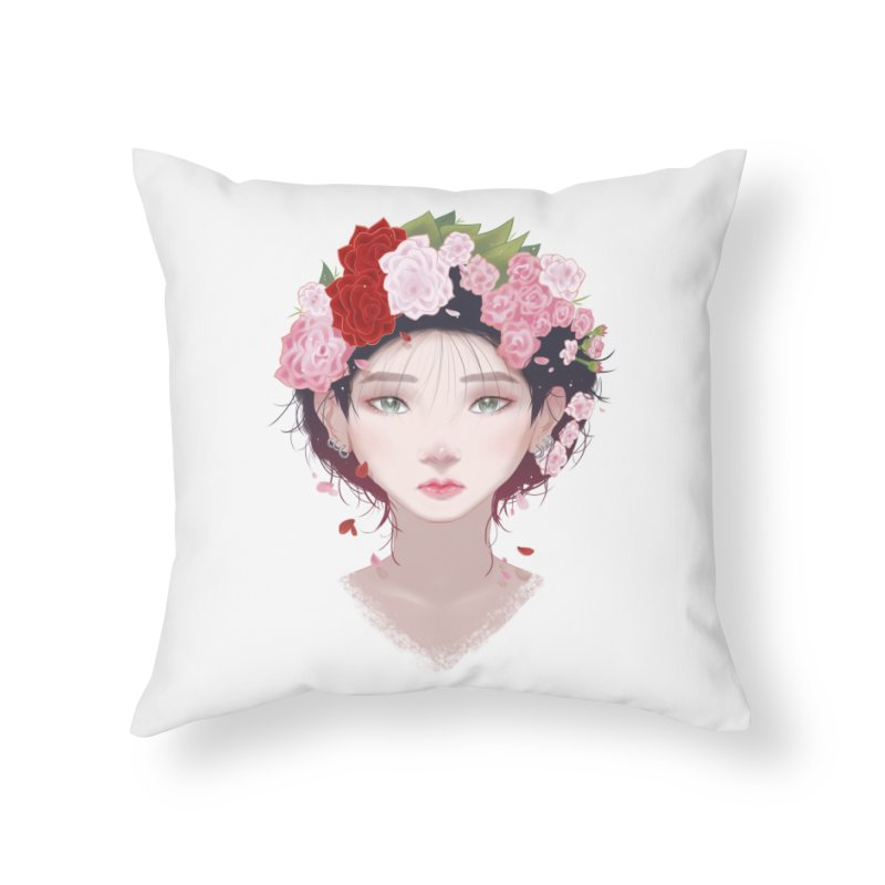 Pink Roses Home Throw Pillow by Fran Shop