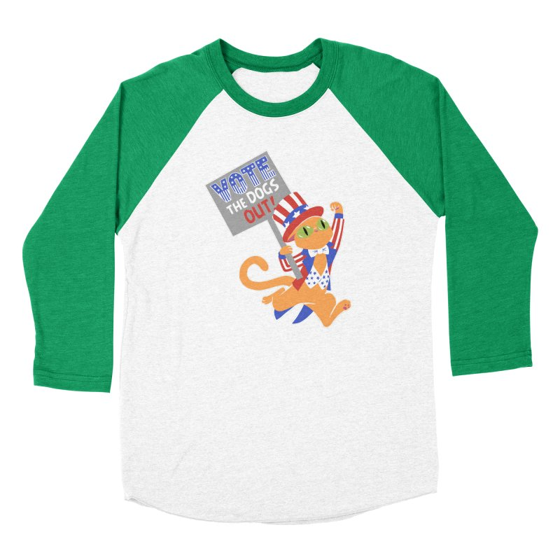 Vote Cat Men's Baseball Triblend Longsleeve T-Shirt by Frankenstein's Artist Shop