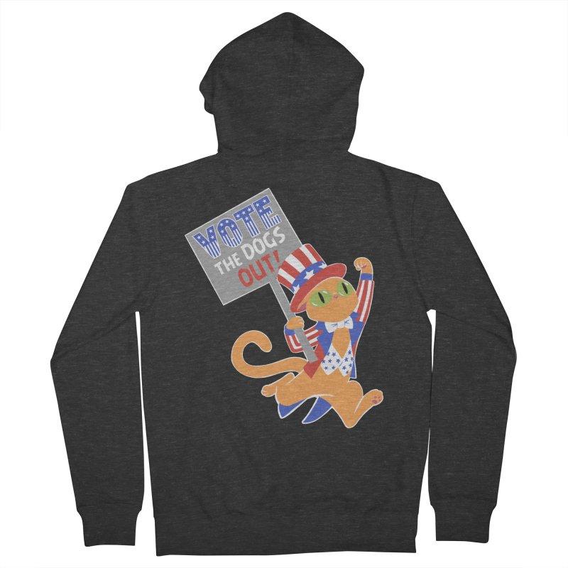 Vote Cat Men's French Terry Zip-Up Hoody by Frankenstein's Artist Shop