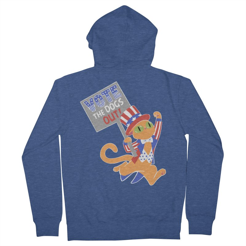 Vote Cat Men's French Terry Zip-Up Hoody by Frankenstein's Artist Shop