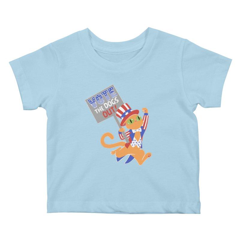Vote Cat Kids Baby T-Shirt by Frankenstein's Artist Shop
