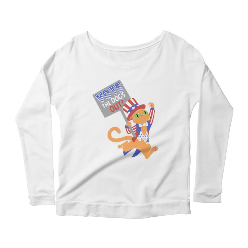 Vote Cat Women's Scoop Neck Longsleeve T-Shirt by Frankenstein's Artist Shop