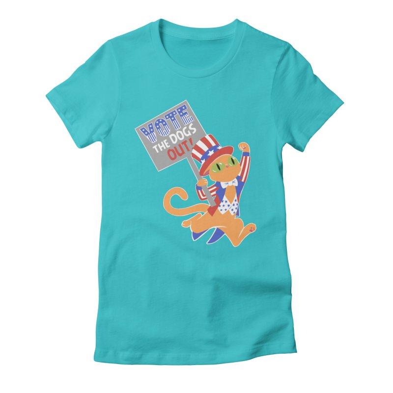 Vote Cat Women's Fitted T-Shirt by Frankenstein's Artist Shop