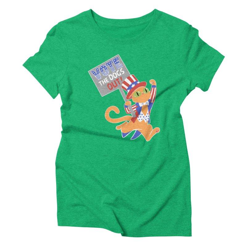 Vote Cat Women's Triblend T-Shirt by Frankenstein's Artist Shop