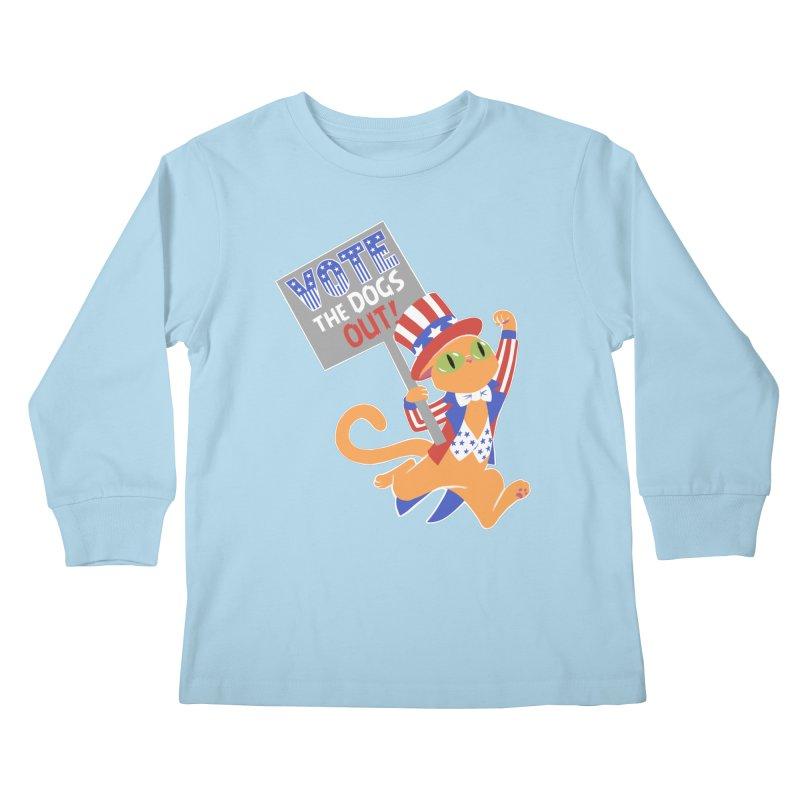 Vote Cat Kids Longsleeve T-Shirt by Frankenstein's Artist Shop