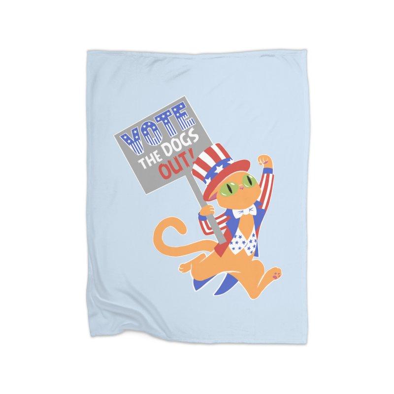 Vote Cat Home Fleece Blanket Blanket by Frankenstein's Artist Shop