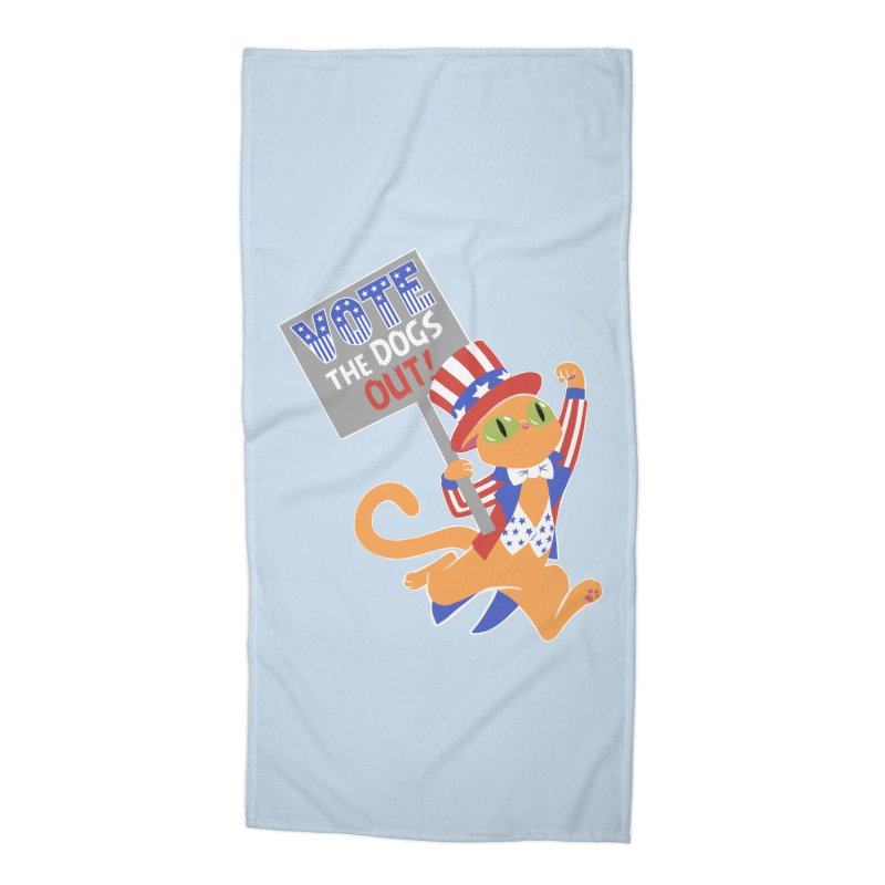 Vote Cat Accessories Beach Towel by Frankenstein's Artist Shop