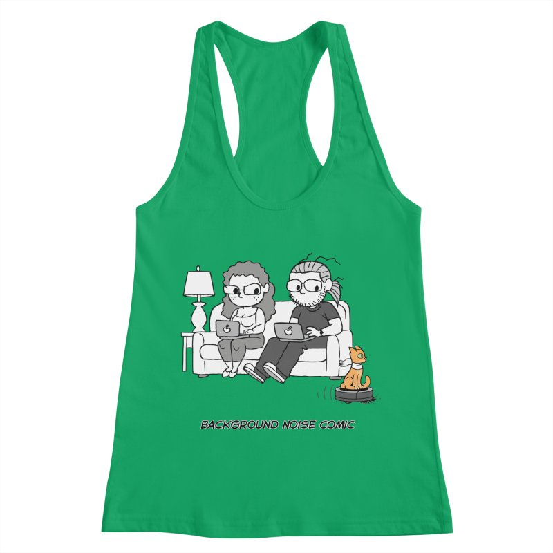 Background Noise Couch (with Danny Cat!) Women's Racerback Tank by Frankenstein's Artist Shop