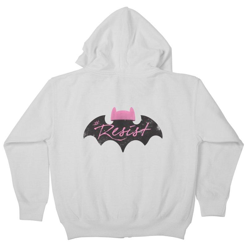 Pussy Bat (Resist!) Kids Zip-Up Hoody by Frankenstein's Artist Shop
