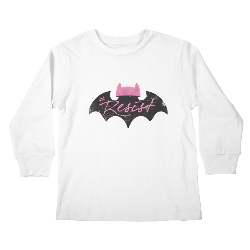 Pussy Bat (Resist!) Kids Longsleeve T-Shirt by Frankenstein's Artist Shop