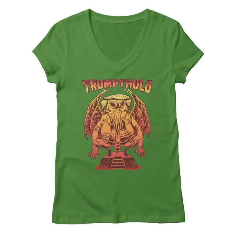 TRUMPTHULU Women's V-Neck by Frankenstein's Artist Shop
