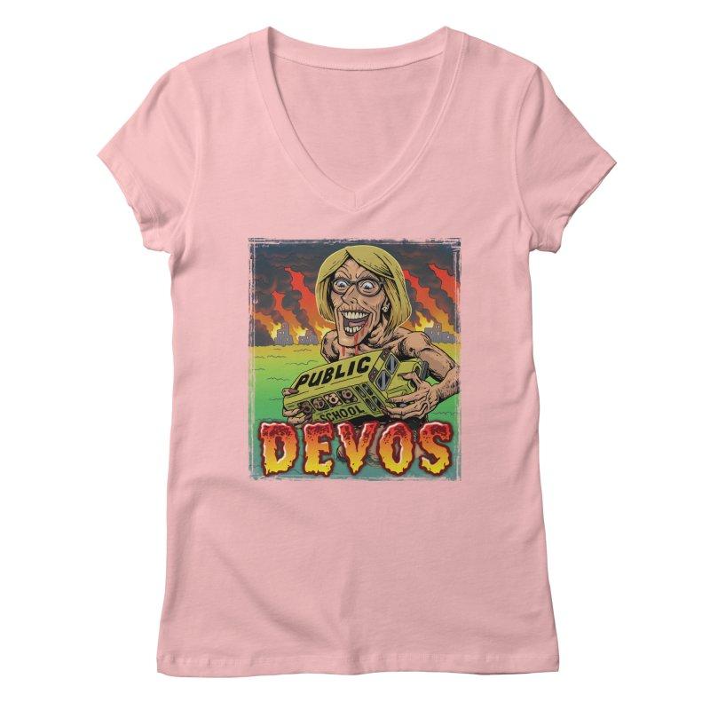 DeVos Monster (Attack on Education) Women's V-Neck by Frankenstein's Artist Shop