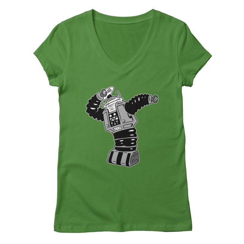 DAB Robot Women's Regular V-Neck by Frankenstein's Artist Shop