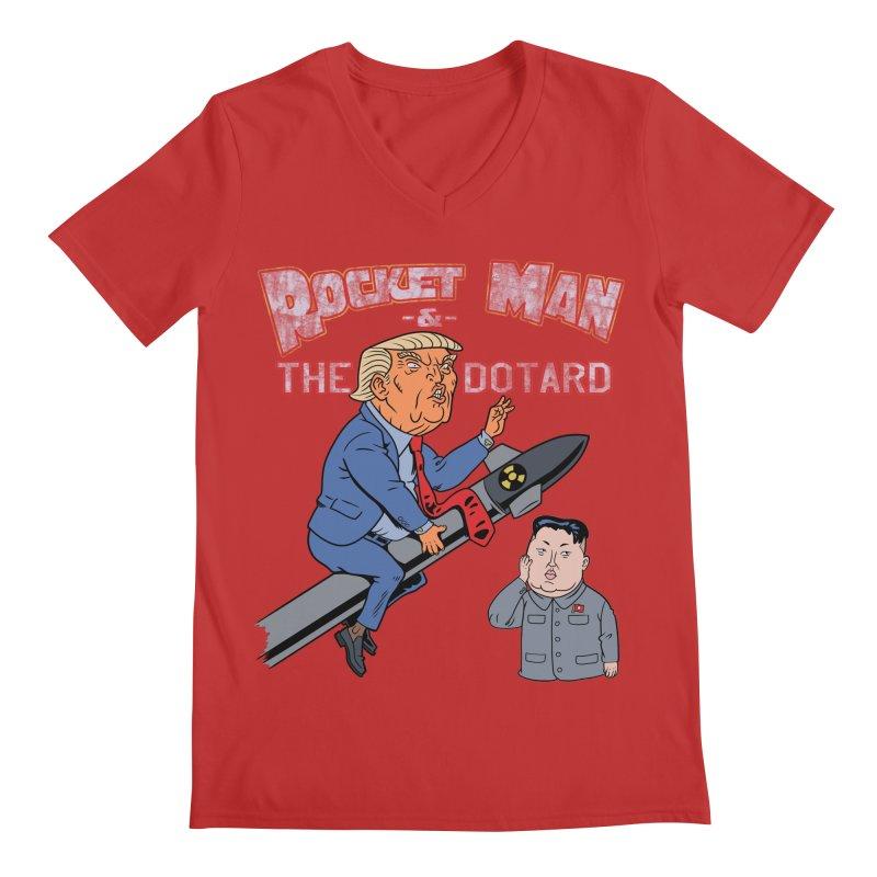Rocket Man & the Dotard Men's Regular V-Neck by Frankenstein's Artist Shop