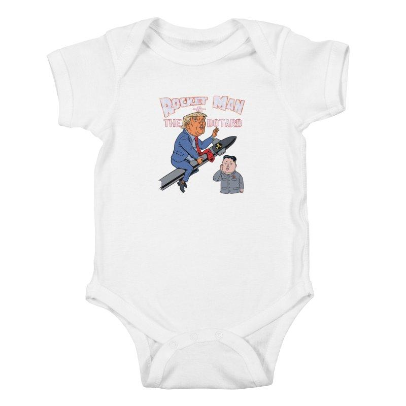 Rocket Man & the Dotard Kids Baby Bodysuit by Frankenstein's Artist Shop