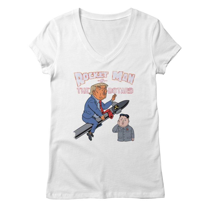 Rocket Man & the Dotard Women's V-Neck by Frankenstein's Artist Shop