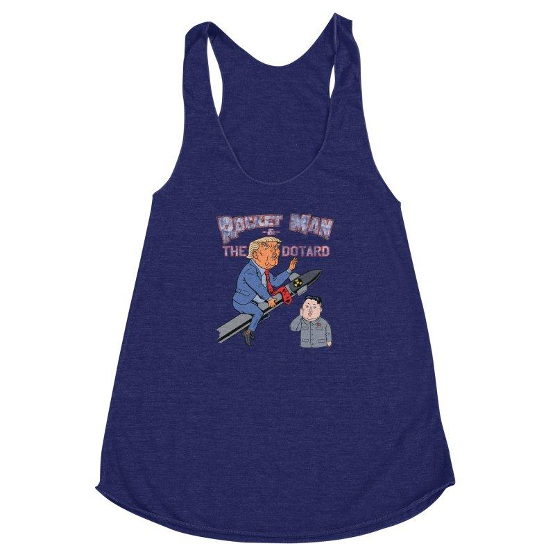 Rocket Man & the Dotard Women's Racerback Triblend Tank by Frankenstein's Artist Shop