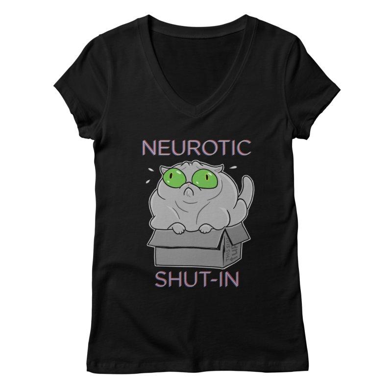 Neurotic Shut-In Women's V-Neck by Frankenstein's Artist Shop