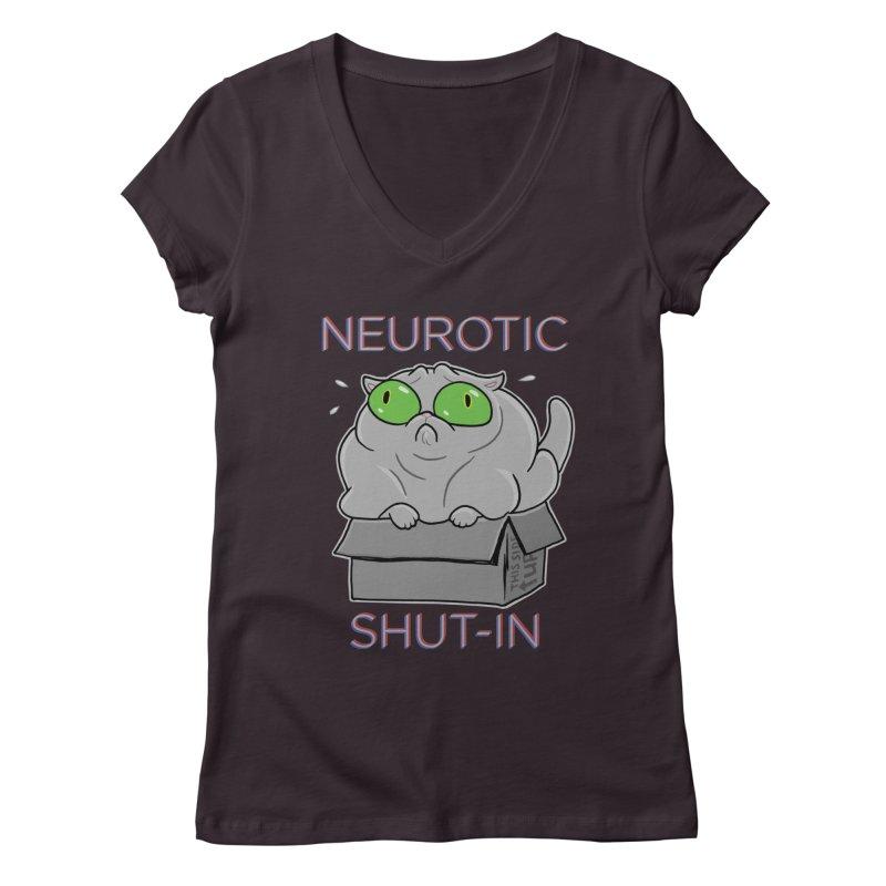 Neurotic Shut-In Women's Regular V-Neck by Frankenstein's Artist Shop