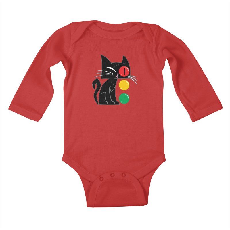STOP! Cat Kids Baby Longsleeve Bodysuit by Frankenstein's Artist Shop