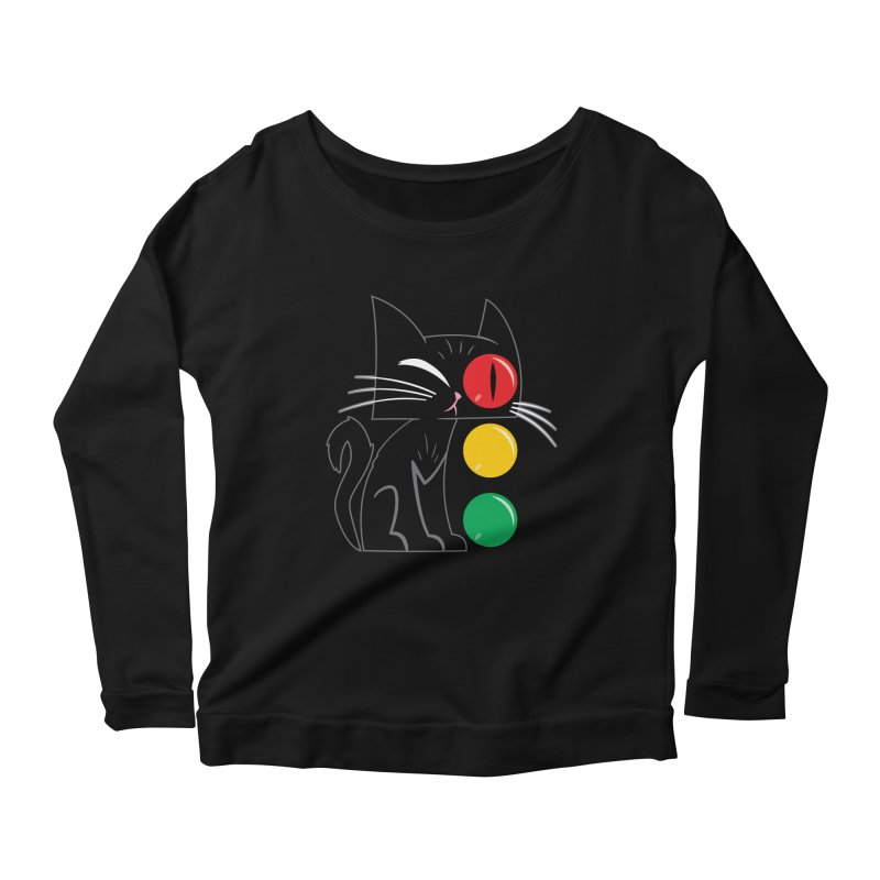 STOP! Cat Women's Longsleeve Scoopneck  by Frankenstein's Artist Shop