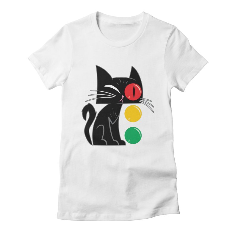 STOP! Cat Women's Fitted T-Shirt by Frankenstein's Artist Shop