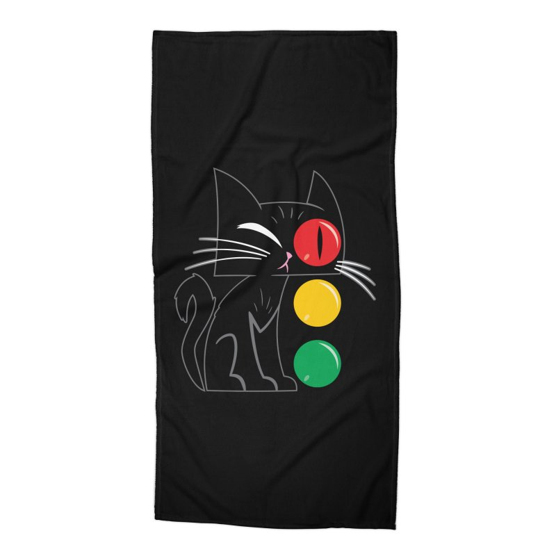 STOP! Cat Accessories Beach Towel by Frankenstein's Artist Shop