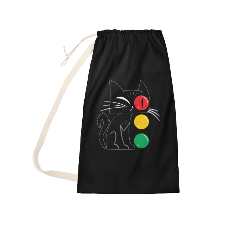 STOP! Cat Accessories Laundry Bag Bag by Frankenstein's Artist Shop