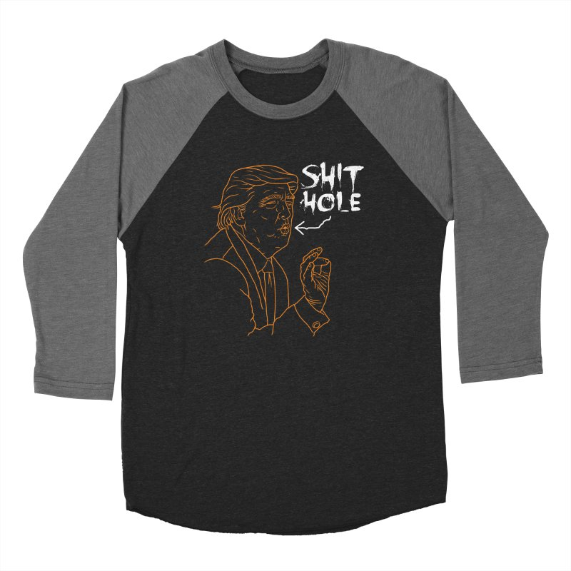 Trump has a Shithole for a Mouth (Black Edition) Men's Baseball Triblend Longsleeve T-Shirt by Frankenstein's Artist Shop