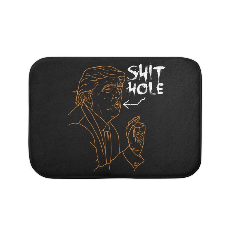 Trump has a Shithole for a Mouth (Black Edition) Home Bath Mat by Frankenstein's Artist Shop