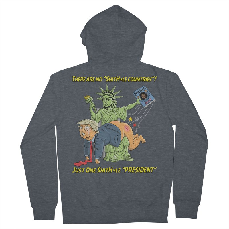 Bad SHITHOLE President! Men's French Terry Zip-Up Hoody by Frankenstein's Artist Shop