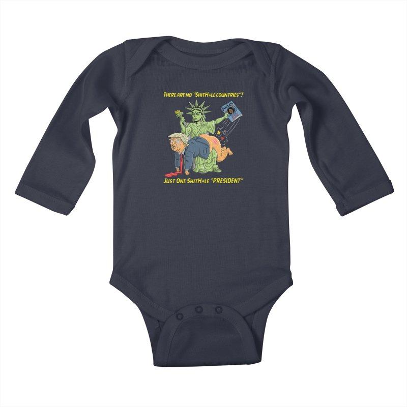 Bad SHITHOLE President! Kids Baby Longsleeve Bodysuit by Frankenstein's Artist Shop