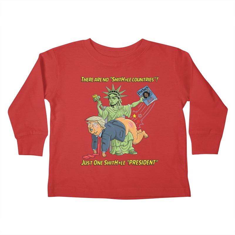 Bad SHITHOLE President! Kids Toddler Longsleeve T-Shirt by Frankenstein's Artist Shop