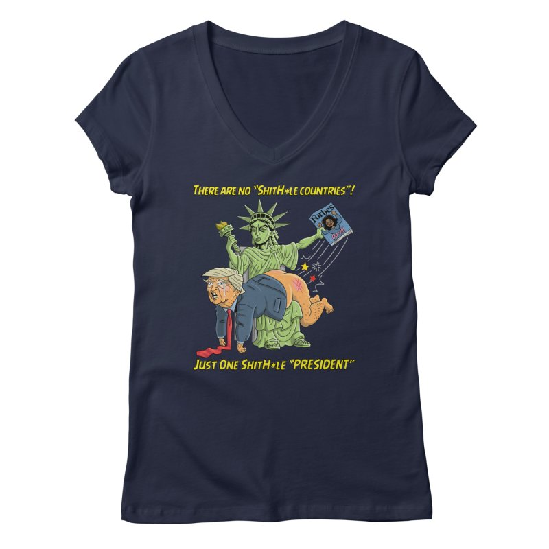 Bad SHITHOLE President! Women's Regular V-Neck by Frankenstein's Artist Shop
